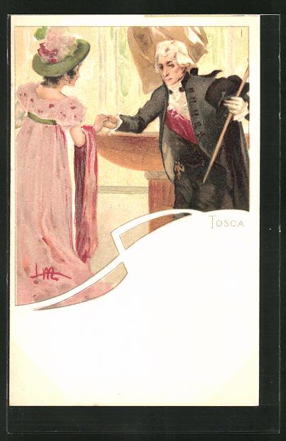 Künstler-AK Leopoldo Metlicovitz: Szene aus der Oper Tosca, Herr begrüsst eine Dame