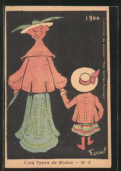 Künstler-AK sign. Fermel: Cinq Types de Modes, Dame mit ihrer Tochter