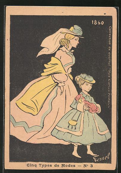 Künstler-AK sign. Fermel: Cinq Types de Modes, Elegante Dame mit Tochter