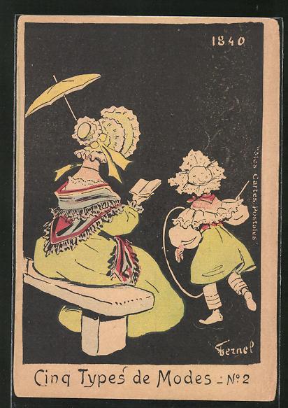 Künstler-AK sign. Fermel: Cinq Types de Modes, Lesende Dame und spielende Tochter