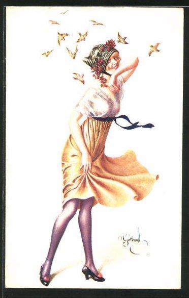 Künstler-AK sign. H. Gerbault: Schöne junge Frau wird von Vögeln umschwärmt