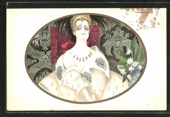 Künstler-AK sign. M. Montedoro: Elegante Dame auf einem Stuhl mit Schnitzereien