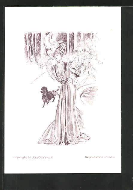 Künstler-AK sign. Fournery: Menükarte, Elegante Dame im Park