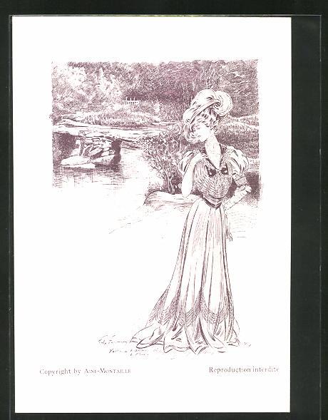 Künstler-AK sign. Fournery: Menükarte, Elegante Dame an einem Fluss
