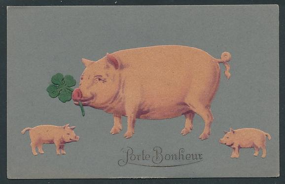 Filz-AK Schwein mit Ferkeln und Glücksklee aus Filz