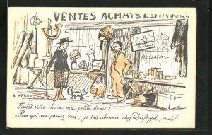 Künstler-AK sign. A. Warnod: Junge Französin im Gespräch mit einem Geschäftsinhaber