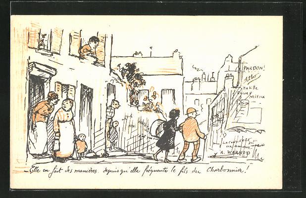 Künstler-AK sign. A. Warnod: Bewohner einer Strasse unterhalten sich über ein Paar