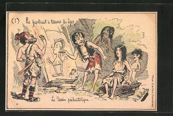Künstler-AK sign. B. Moloch: Le portrait à travers les ages, Le dessin préhistorique