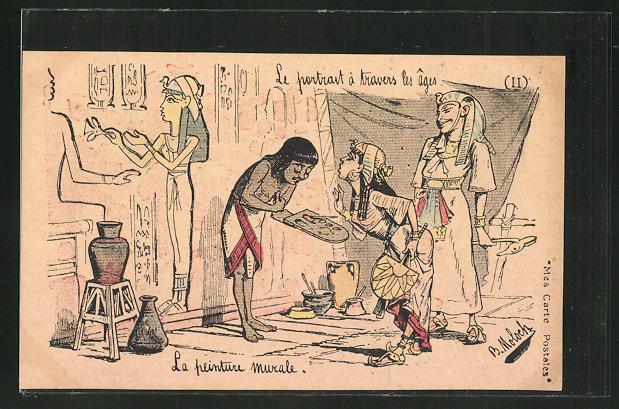 Künstler-AK sign. B. Moloch: Le portrait à travers les ages, La peinture murale