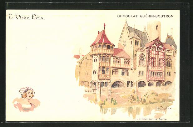 Künstler-AK sign. A. Robida: Reklame für Chocolat Guérin-Boutron, Le Vieux Paris, Coin sur la Seine