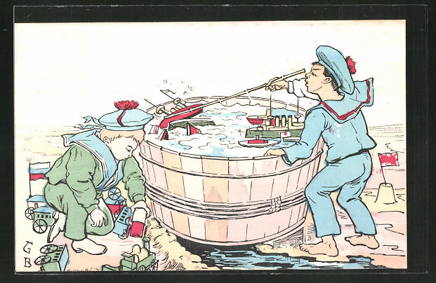 Künstler-AK Knaben in russischer und japanischer Uniform spielen Seeschlacht, Russisch-Japanischer Krieg