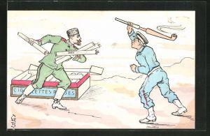 Künstler-AK Russischer und japanischer Soldat bekämpfen sich mit Tabakwaren, Russisch-Japanischer Krieg