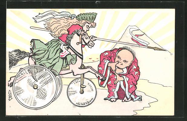 Künstler-AK Japaner duckt sich vor russischer Lanzenreiterin auf dem Dreirad, Russisch-Japanischer Krieg