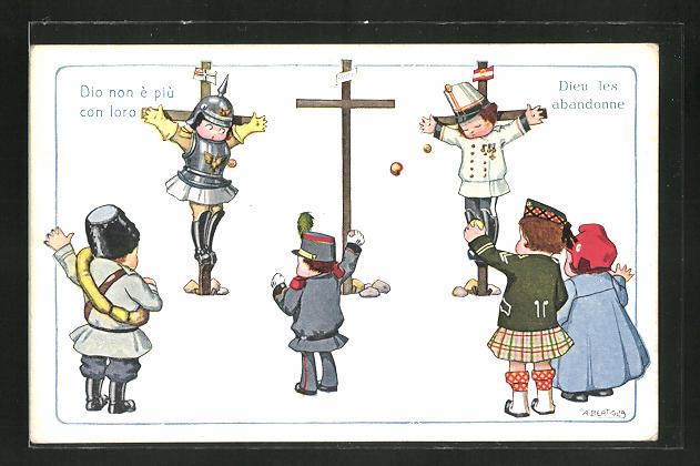 Künstler-AK A. Bertiglia: Zweibund-Soldaten werden von den Alliierten gekreuzigt