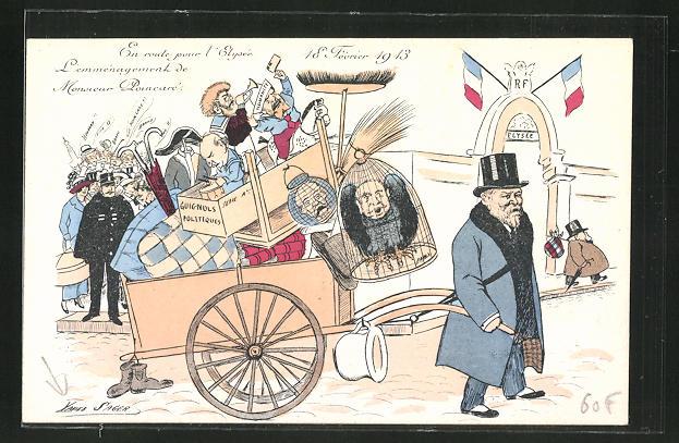 Künstler-AK Xavier Sager: En route pour l'Elysée, L'emmenagement de Monsieur Poincaré