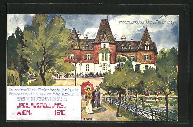 Künstler-AK Ulf Seidl: Wien, 1. Internationale Jagd-Ausstellung 1910, Kaiserl. Jagdschloss Mürzsteg
