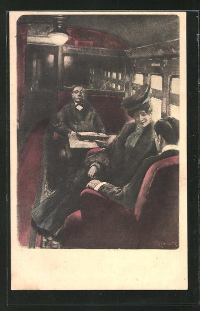 Künstler-AK Ferdinand von Reznicek, Simplicissimus: Passagiere im Zugabteil