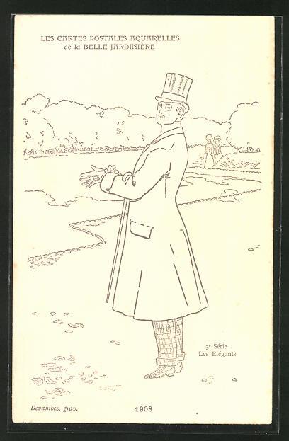 Künstler-AK sign. Devambez: Les Elégants, Mode 1908, elegant gekleideter Herr am Wald