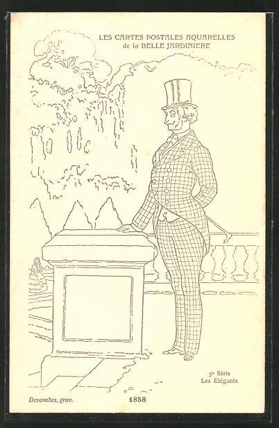 Künstler-AK sign. Devambez: Les Elégants, Mode 1858, Mann im Anzug mit Zylinder