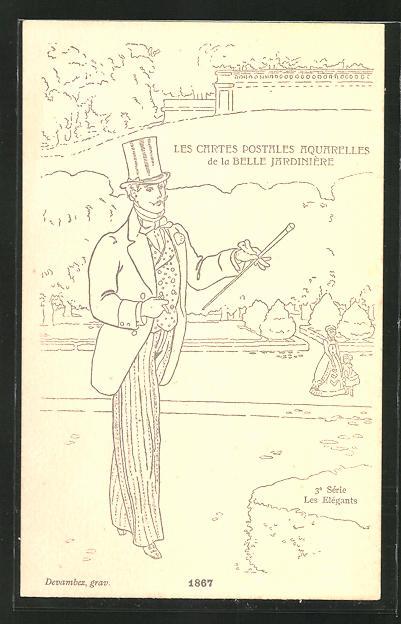 Künstler-AK sign. Devambez: Les Elégants, Mode 1867, Mann mit Hut und Handschuhen beim Rauchen