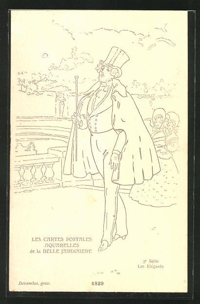 Künstler-AK sign. Devambez: Les Elégants, Mode 1839, Mann mit Zylinder und Umhang