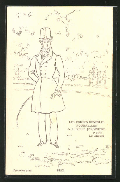 Künstler-AK sign. Devambez: Les Elégants, Mode 1832, Mann mit Reitgerte und Hut