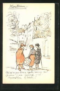 Künstler-AK sign. A. Warnod: junge Frauen bei einem Spaziergang