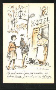 Künstler-AK sign. A. Warnod: Ehepaar besucht ein Hotel