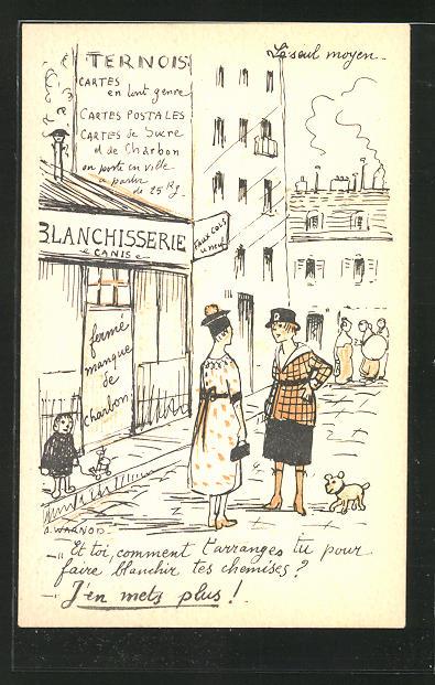 Künstler-AK sign. A. Warnod: Ternois, Frauen vor der Blanchisserie 0