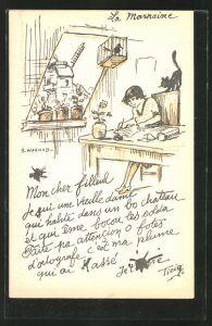 Künstler-AK sign. A. Warnod: junge Dame schreibt einen Brief