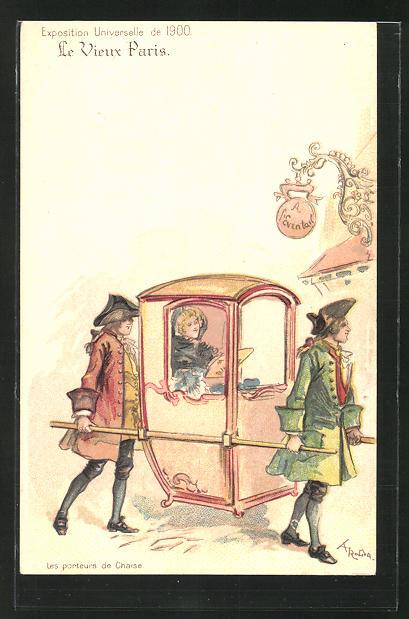 Künstler-AK sign. A. Robida: Le Vieux Paris, Les porteurs de Chaise