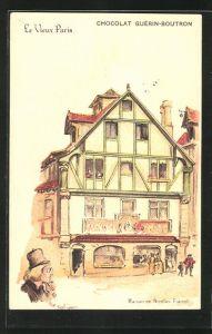 Künstler-AK sign. A. Robida: Le Vieux Paris, Maison de Nicolas Flamel, Chocolat Guérin-Boutron