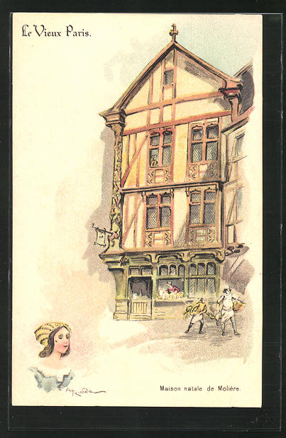 Künstler-AK sign. A. Robida: Le Vieux Paris, Maison natale de Molière
