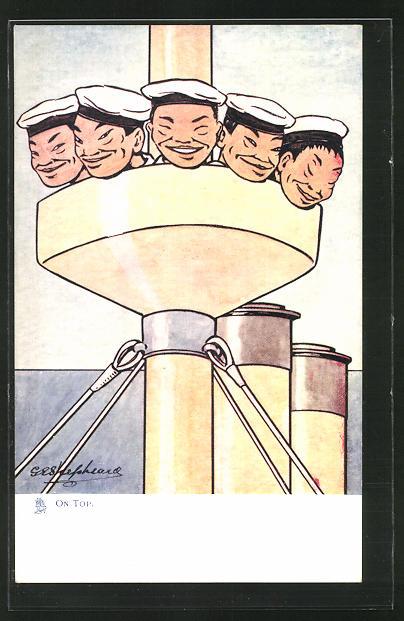 Künstler-AK George Edward Shepheard: On Top, Japanische Matrosen, Russisch-Japanischer Krieg