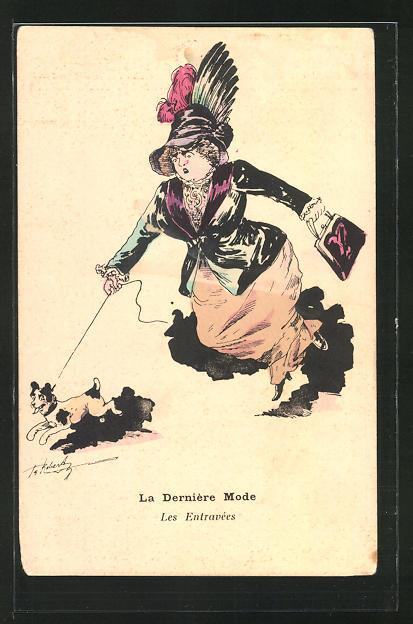 Künstler-AK sign. Roberty: La Mode en 1909, La Derniére Mode, Les Entravées, Frau mit grossem Hut und Hund