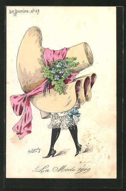 Künstler-AK sign. Roberty: La Mode en 1909, La Mode 1909, Le Sourire, Frau mit riesigem Hut