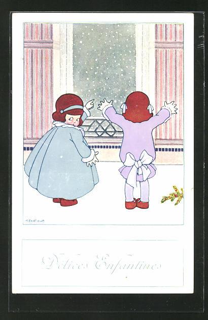 Künstler-AK A. Bertiglia: Délices Enfantines, Mädchen schauen aus einem Fenster