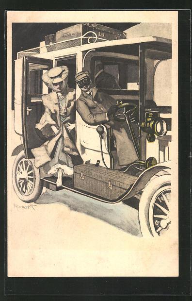 Künstler-AK Ferdinand von Reznicek: Simplicissimus Nr. 11: Frau steigt in ein Auto