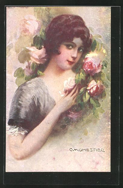 Künstler-AK C. Monestier: junge Frau mit bunten Blumen