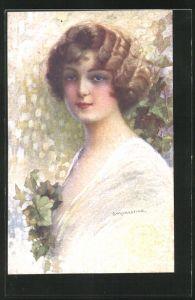 Künstler-AK C. Monestier: schöne Frau im Portrait