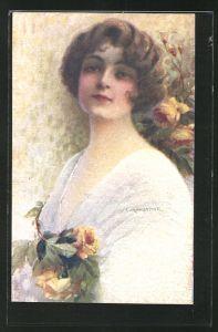 Künstler-AK C. Monestier: schöne Frau mit gelben Rosen