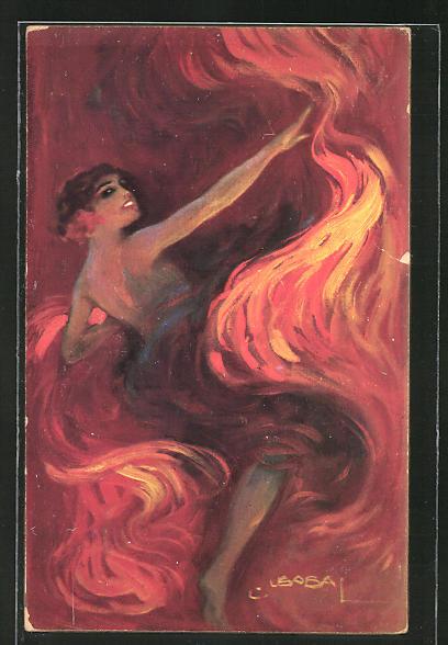 Künstler-AK Luis Usabal: Frau im Feuer