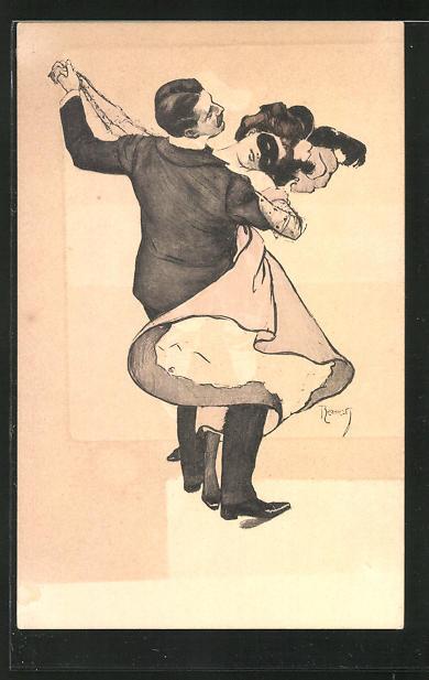 Künstler-AK Ferdinand von Reznicek: Simplicissimus Nr. 3: Mann tanzt mit einer maskierten Frau