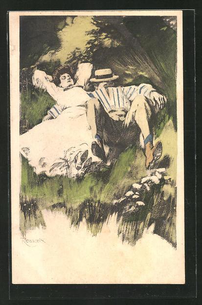 Künstler-AK Ferdinand von Reznicek: Simplicissimus Nr. 8: Liebespaar liegt im Gras