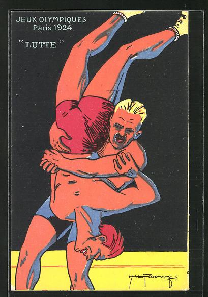 AK Olympia in Paris 1924, Männer beim Ringen