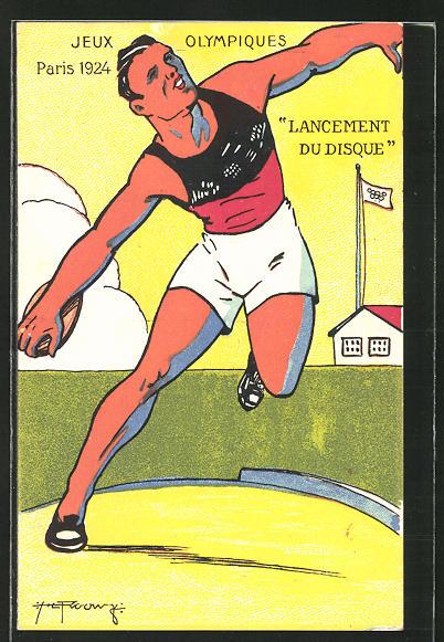 AK Olympia Paris 1924, Leichtathlet beim Diskuss-Werfen