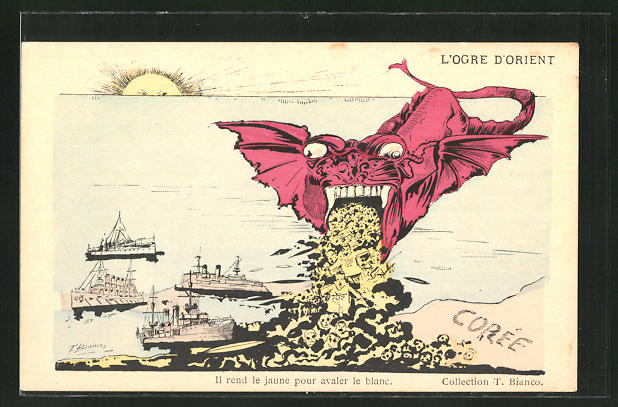 Künstler-AK sign. T. Bianco: Il rend le jaune pour avaler le blanc, Russisch-Japanischer Krieg