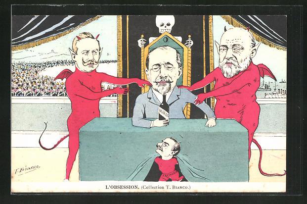 Künstler-AK sign. T. Bianco: Kaiser Wilhelm II., König Edward VII. von England, Marokkokrise