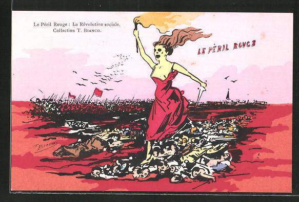 Künstler-AK sign. T. Bianco: Le Péril Rouge: La Révolution sociale, Arbeiterbewegung