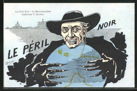 Künstler-AK sign. T. Bianco: Le Péril Moir: Le Mauvais prêtre, Religionspolitik